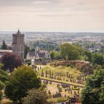 View of the cemetery behind the medieval church of Holy Rude, of great importance in the coronation of Scottish kings, Stirling, Scotland, United Kingdom.